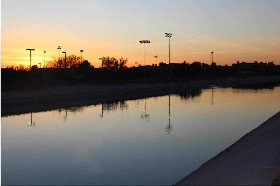 Scottsdale canal during sunset.