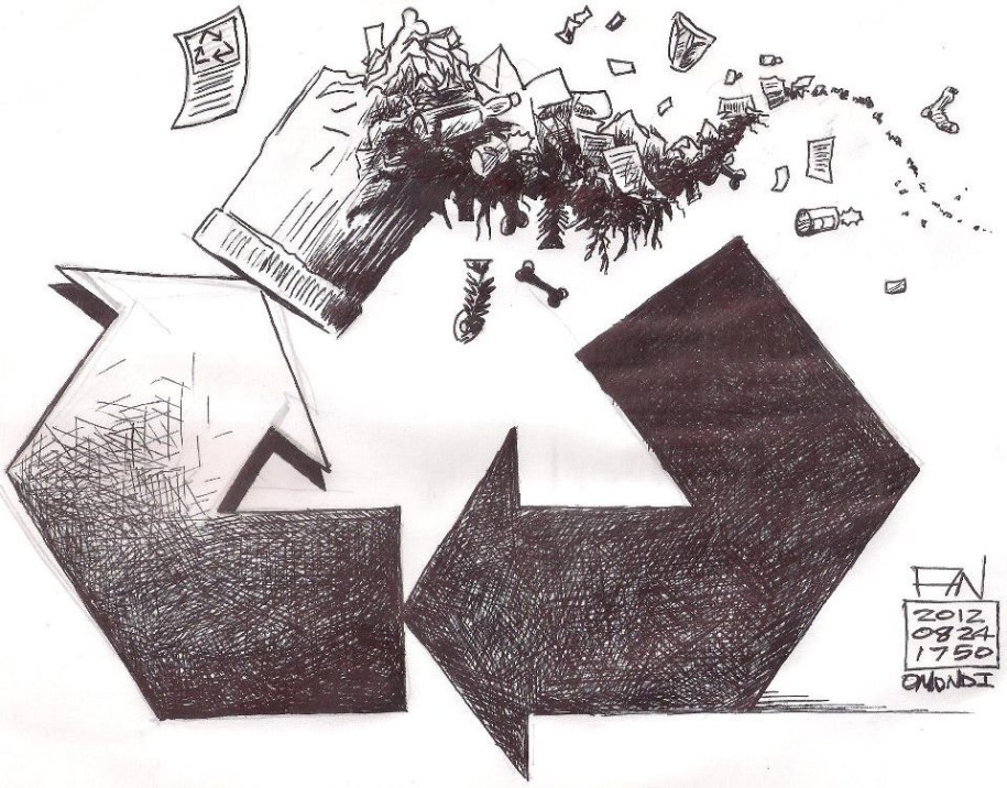 A drawing of the recyclying logo with a trash can replacing one arrow.