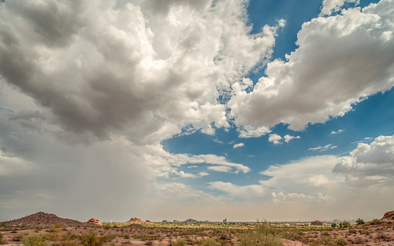 A picture of clouds over the desert.