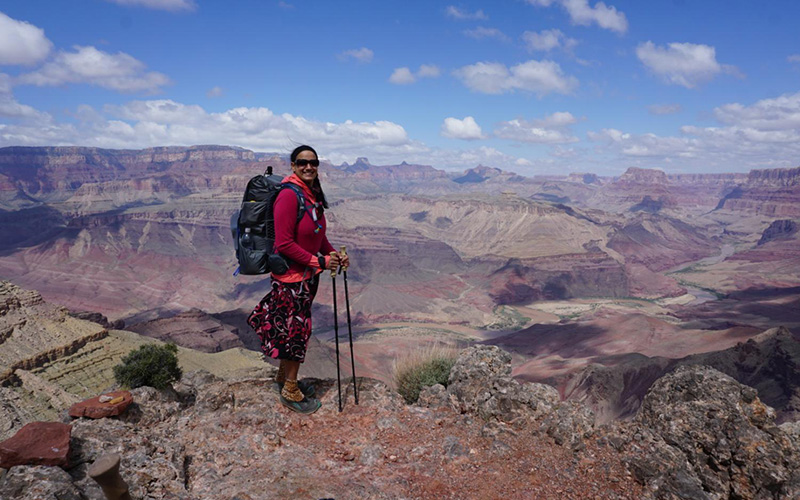 Sirena Rana Dufault hiking the Tanner Trail in the Grand Canyon.