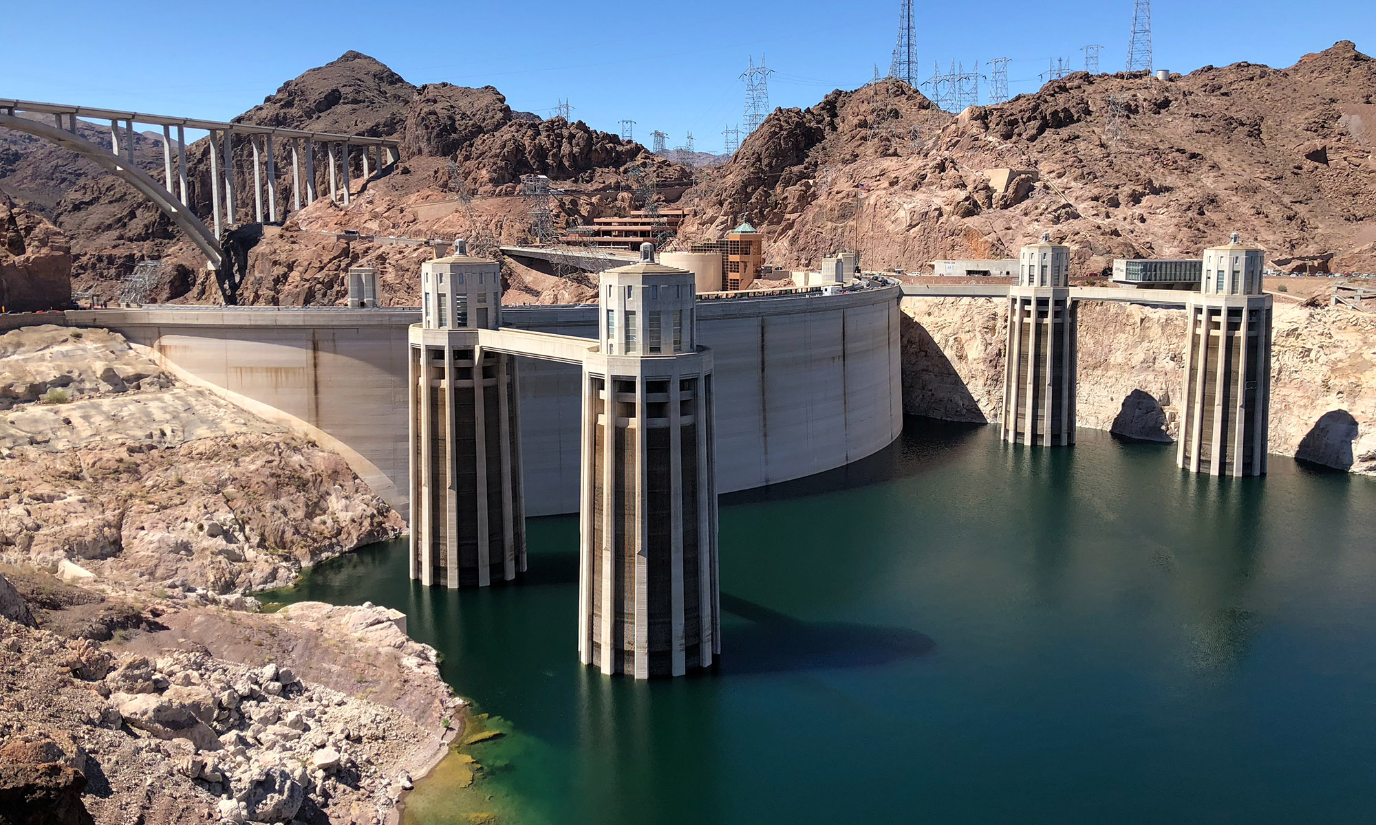 Hoover Dam's Penstock towers take in water from Lake Mead.