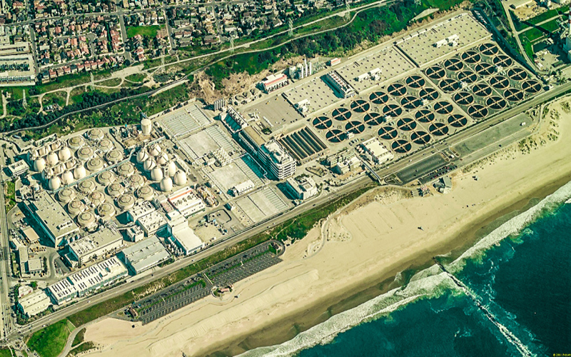 A birds eye view of the Hyperion Water Reclamation in Los Angeles.