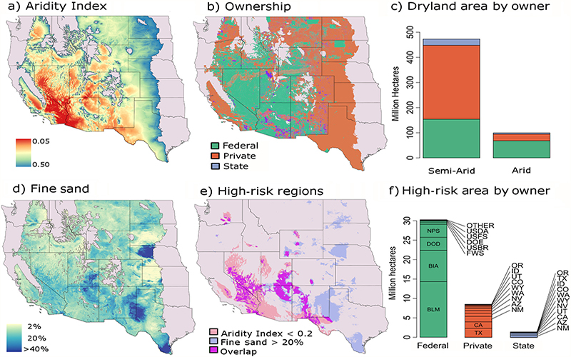 Maps of dry land data across the western and midwestern United States.