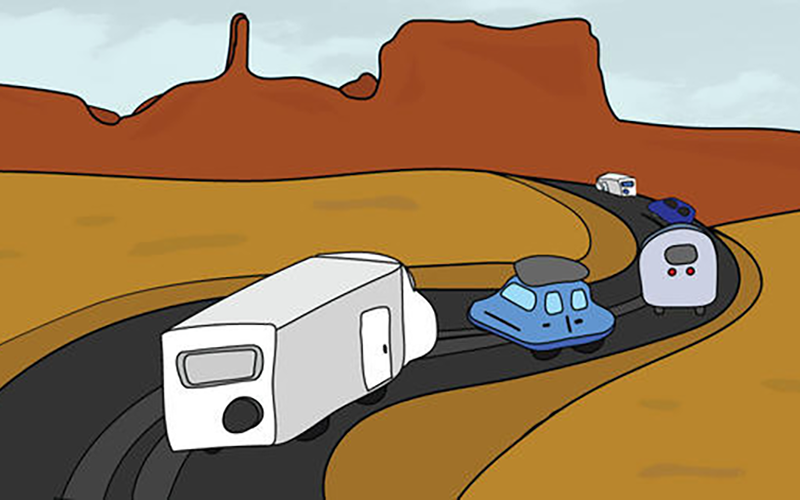 A drawing of cars driving through the desert.