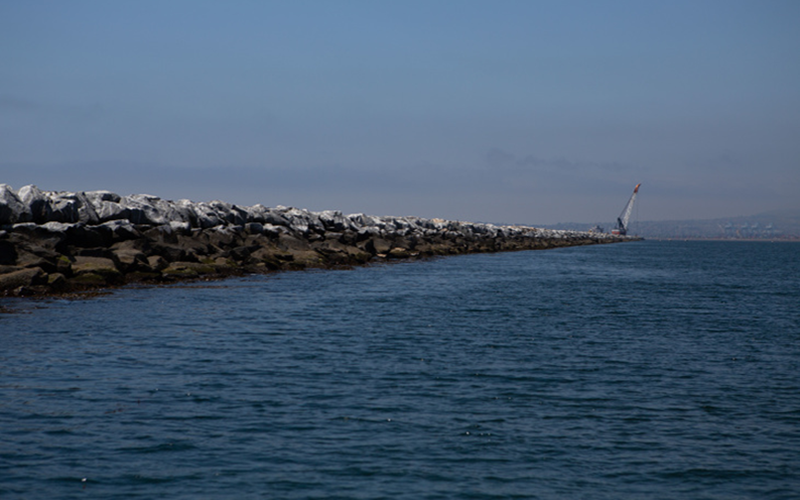 A breakwater in Long Beach seperates the coast from ocean water